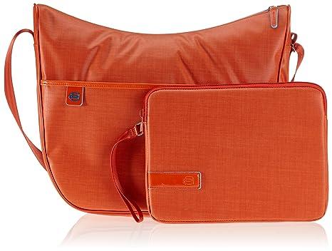 Piquadro Borsa, Collezione Aki, in Pelle e Tessuto, 40 cm, Arancione