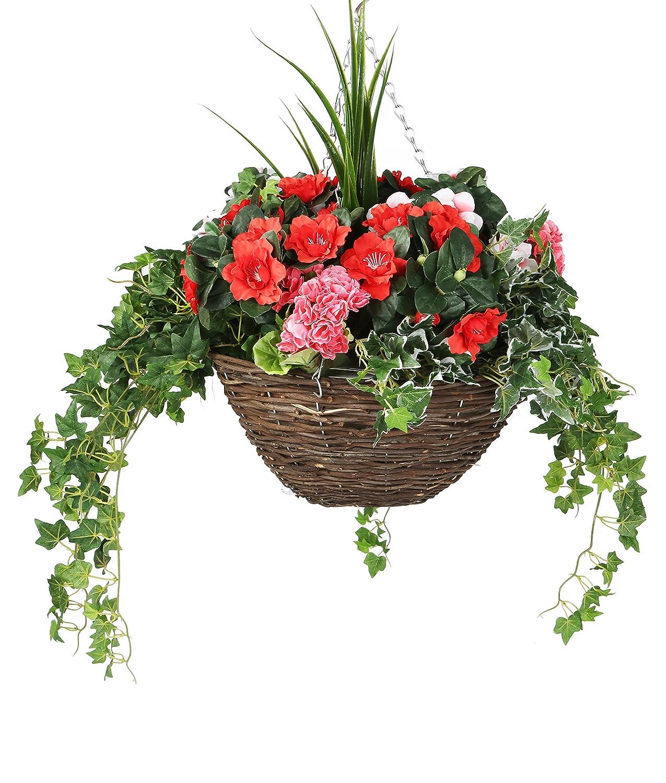 Closer To Nature Künstliche Geranie rot Geranie, Pink, Grün Yucca und gemischte Ivy Display in einem Korb 35,6cm rund Weide Aufhängen–Kunstpflanze Betten Plug und Display Serie