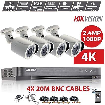 HIKVISION 4CH DVR CCTV KIT & 4X 2.4MP SONY CMOS 1080P Full HD Blanco Camaras