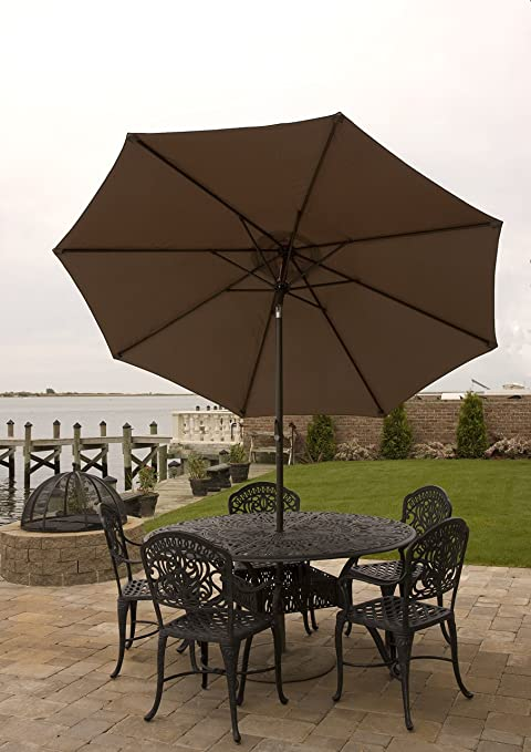 Patio Umbrella For Table 9 Ft With Aluminum Frame, Crank U0026 Tilt For Shade In