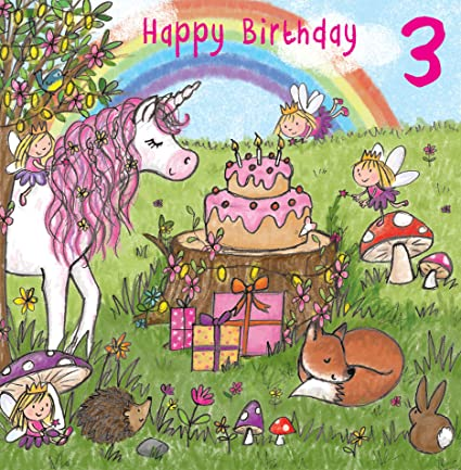 Twizler 3rd Tarjeta de cumpleaños para niña con unicornio ...