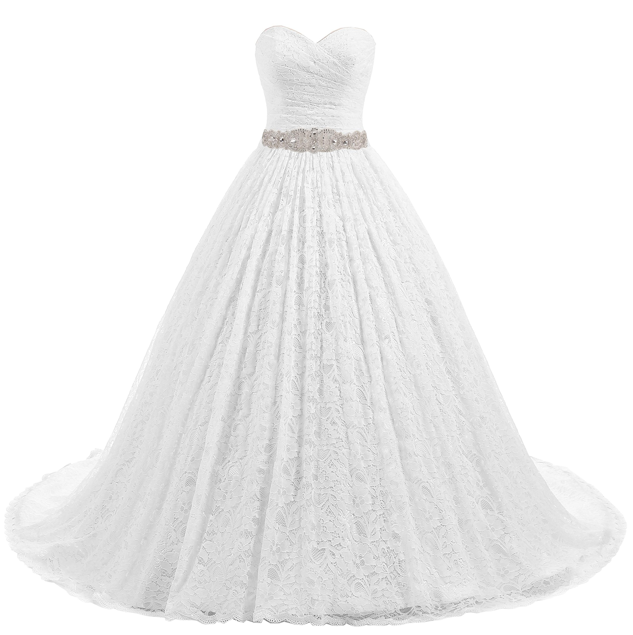 Beautyprom Women's Ball Gown Lace Bridal Wedding Dresses (White-Train, US14) by Beautyprom