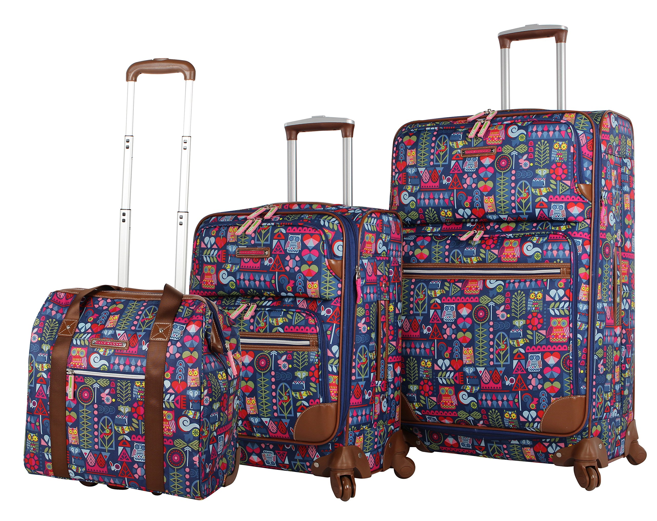 Lily Bloom Luggage 3 Piece Softside Spinner Suitcase Set Collection (Geo Critter)