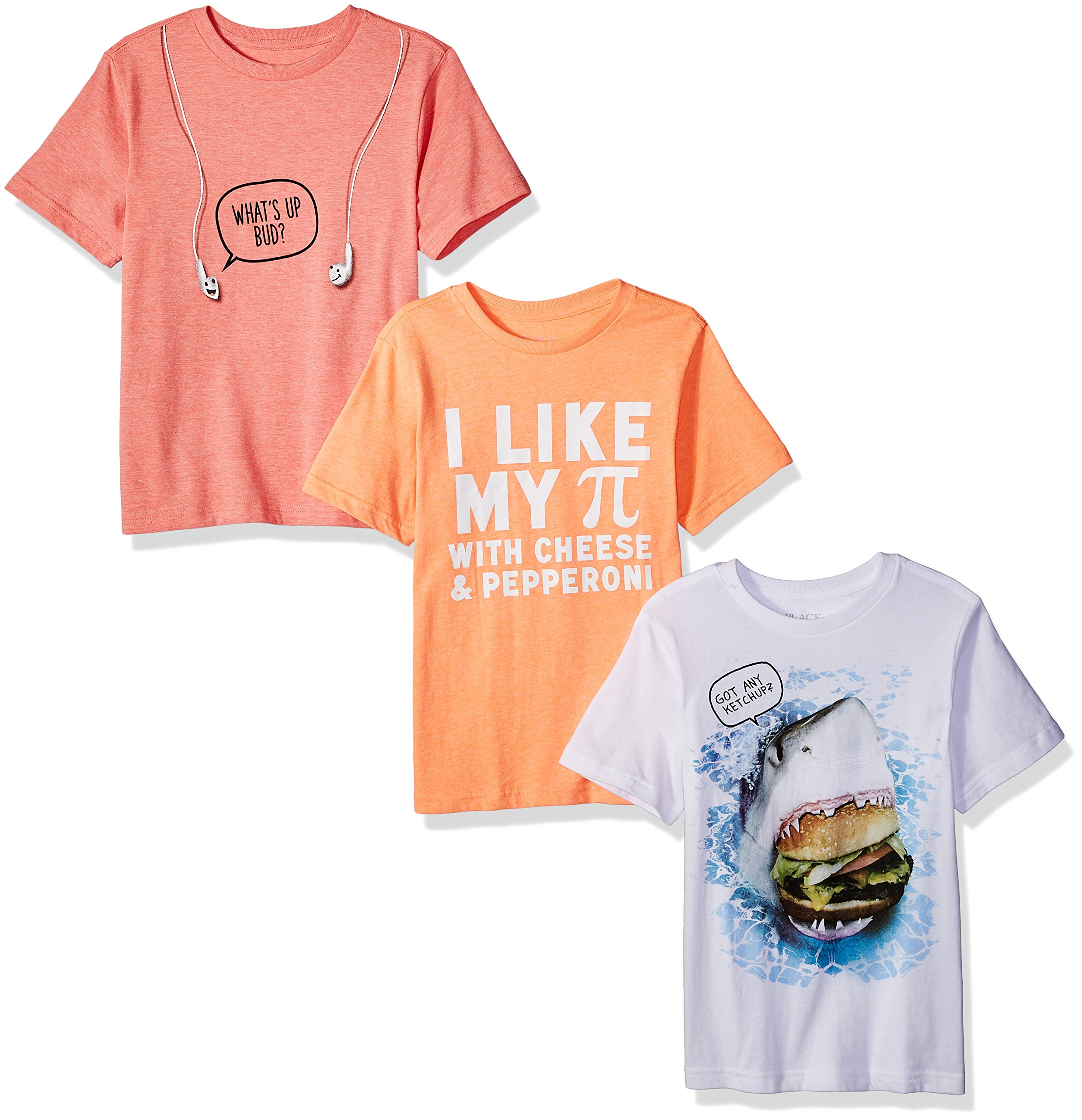 The Children's Place Big Boys' Say It Graphic Tees (Pack of 3), Say It Multi, XS (4)