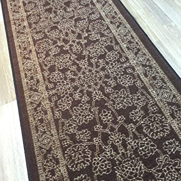 Custom Size BROWN Egyptian Print Traditional Persian Rubber Backed Non Slip  Hallway Stair Runner Rug