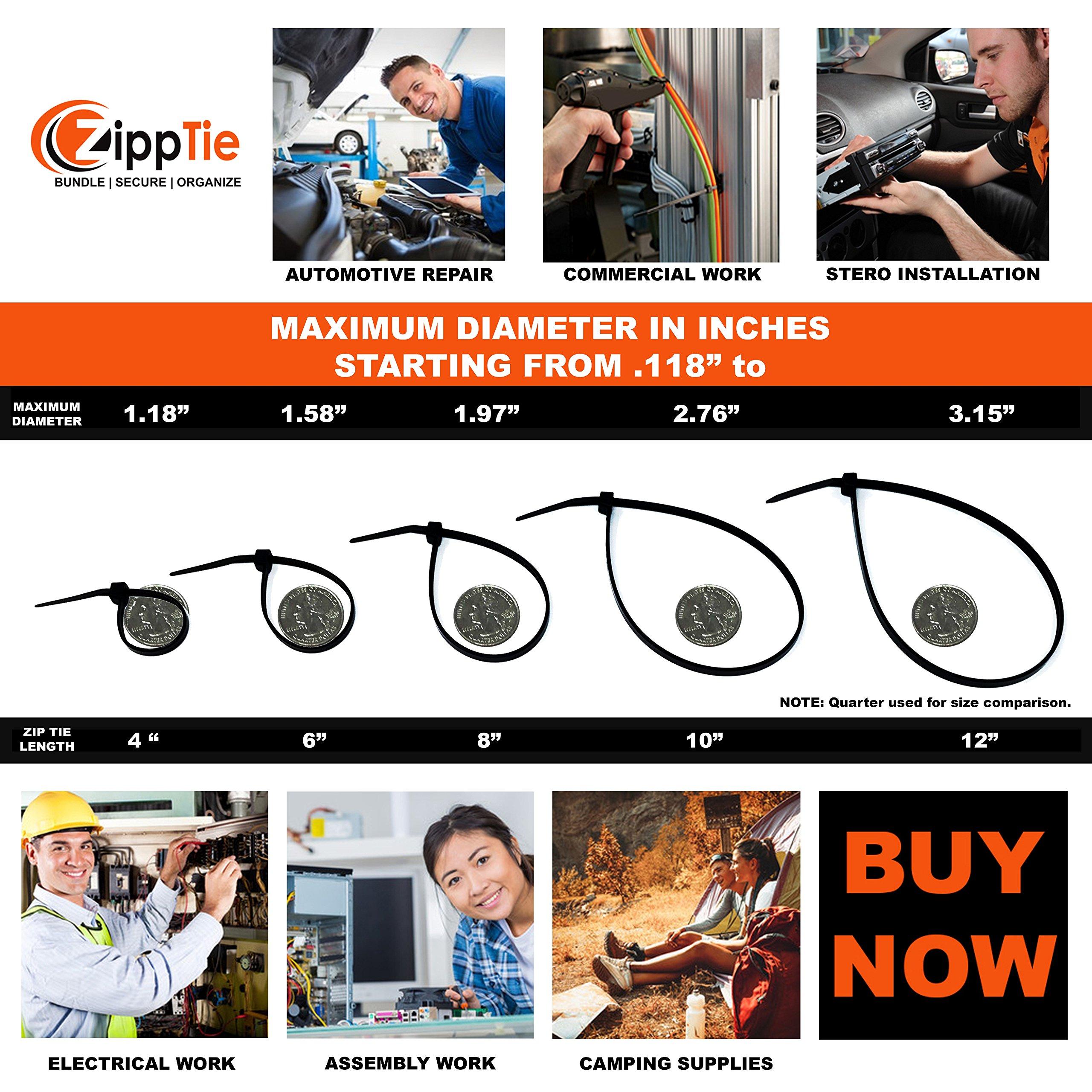 Cable Ties by ZippTie | 225pc Cable Management Kit 6'', 8'', 12'' White & UV Black Heavy Duty (Zip Ties) 50lb & 75lb | Includes 20 Adhesive Base Mounts and 5 Reusable ZippCro Wraps by ZippTie Bundle | Secure | Organize (Image #5)