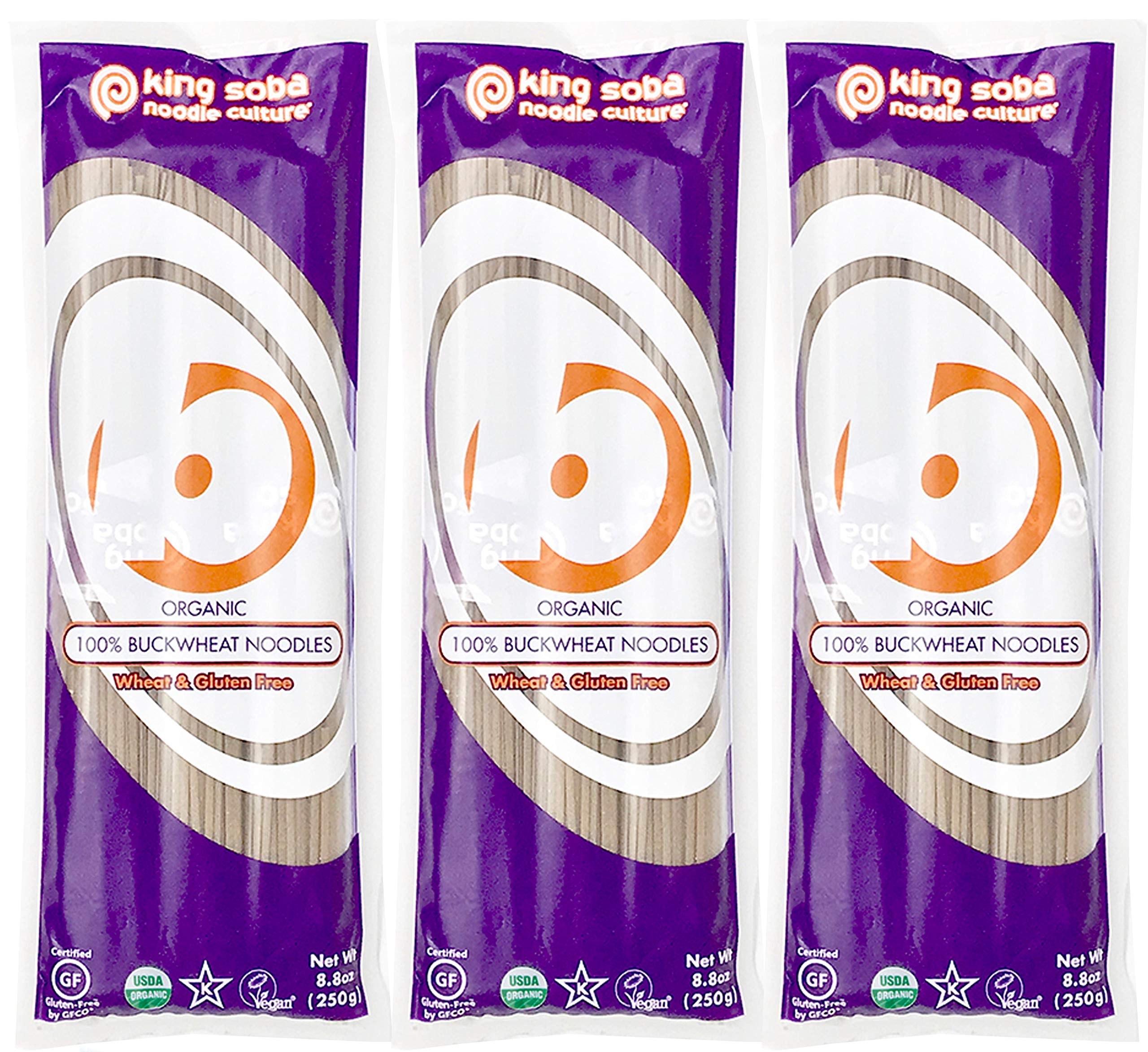 King Soba 3-PACK Gluten Free, Organic 100% Buckwheat Pasta Noodles - Sodium Free, 8.8oz - 3 servings per package by King Soba Noodle Culture
