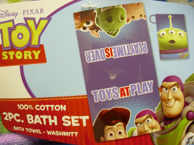 Amazon com  2 Pcs Toy Story Bath Towel Set   Disney Pixar Films   Also for  the Beach   Buzz Lightyear  Woody  Rex  Hamm  Bullseye and a Squeeze Toy  Alien. Amazon com  2 Pcs Toy Story Bath Towel Set   Disney Pixar Films