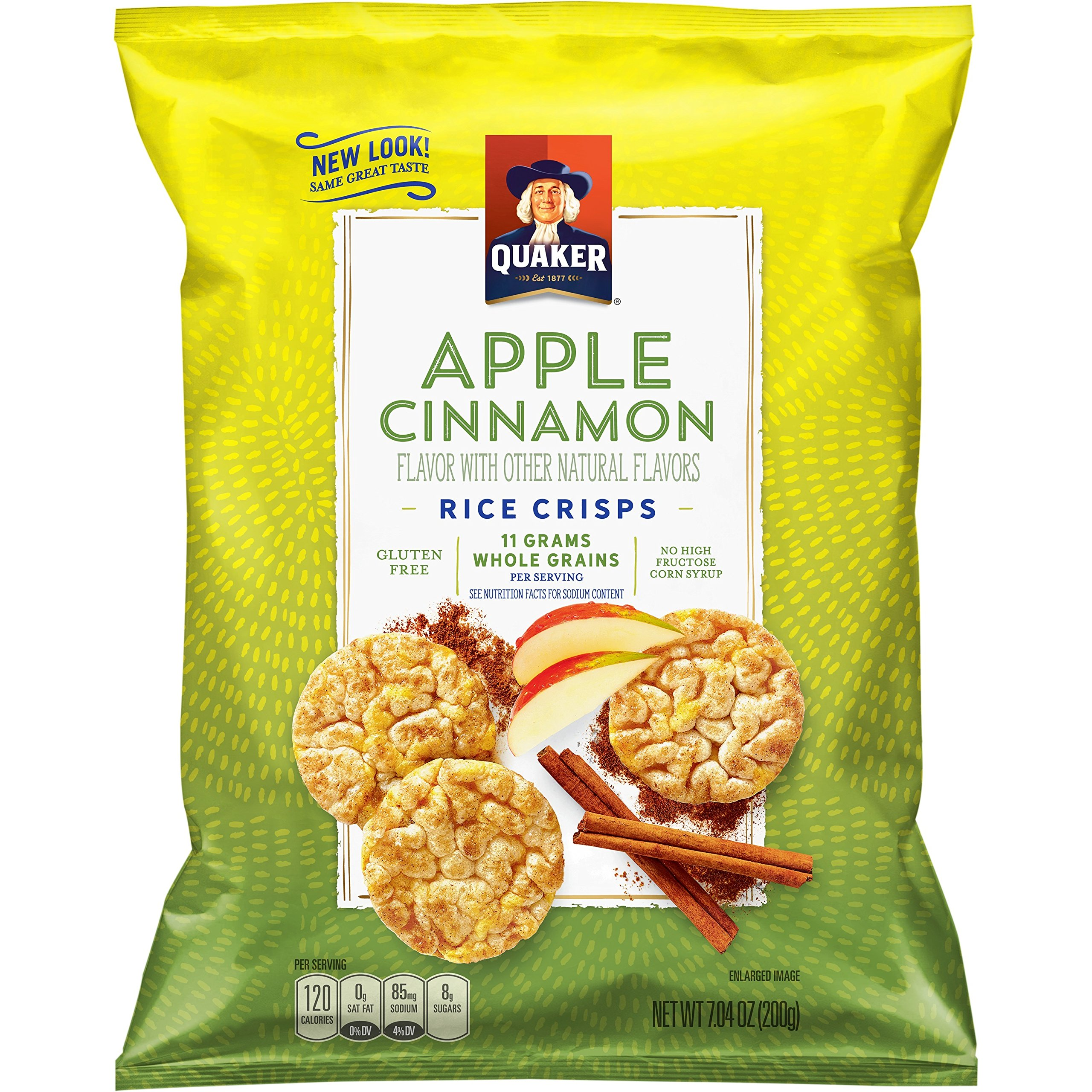 Quaker Rice Crisps, Apple Cinnamon, 7.04 oz Bags, 4 Count (Packaging May Vary) by Quaker