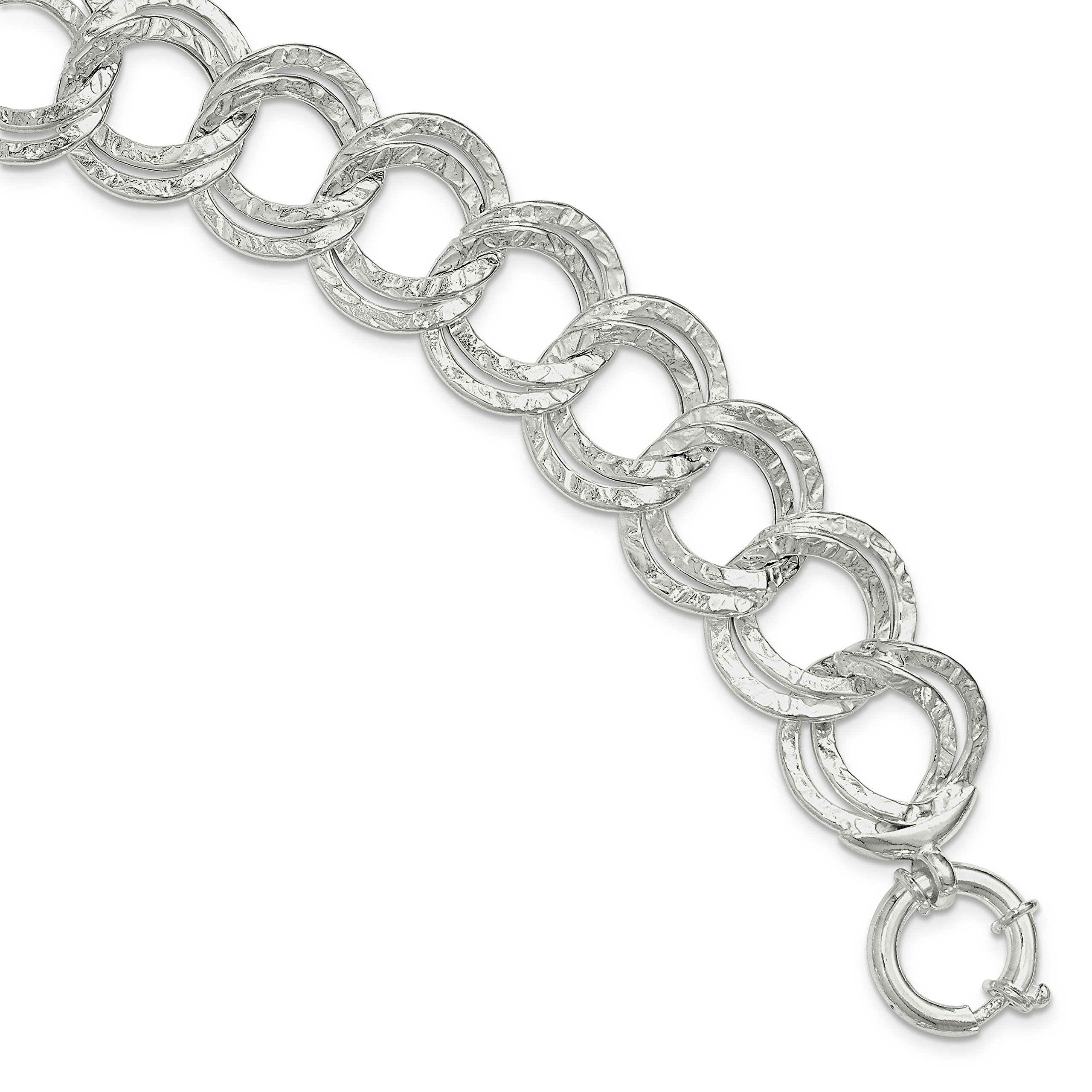 ICE CARATS 925 Sterling Silver Hammered Link Bracelet 8 Inch Fine Jewelry Gift Set For Women Heart