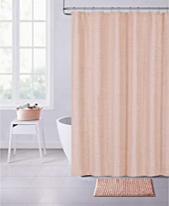 Dainty Home Paris Chinelle Fabric Shower Curtain, 70x72'', Blush
