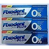 Fixodent Pro Plus 0% crème adhésive 40g - Lot de 3 Tubes