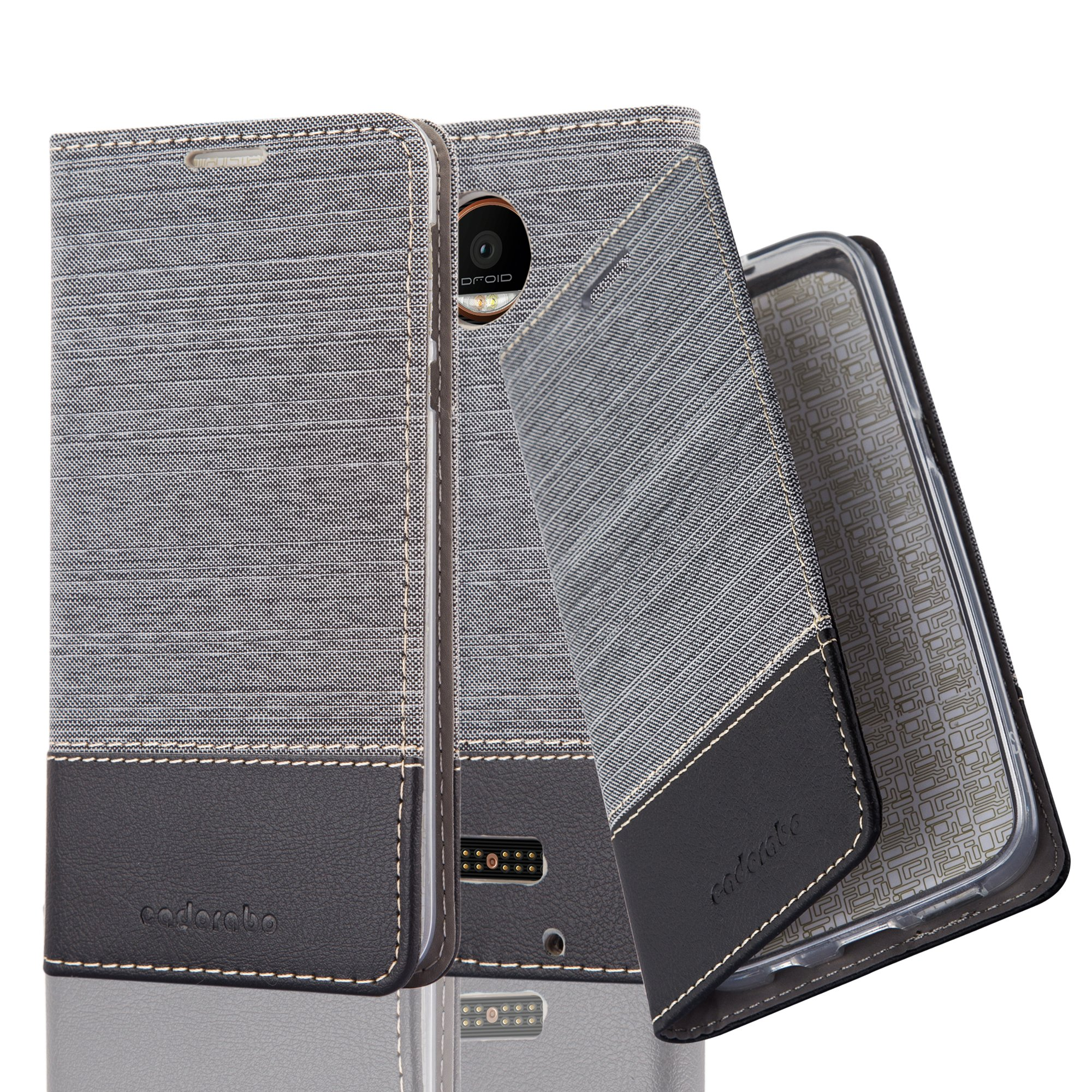 Cadorabo Case works with Lenovo (Motorola) MOTO Z FORCE Book Case in GREY BLACK (Design FABRIC-FAUXLEATHER) – with Magnetic Closure, Stand Function and Card Slot – Wallet Etui Cover