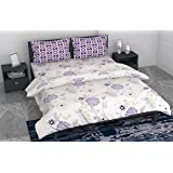 Loreto - A Quality Linen Brand 144 TC 100% Cotton Double Bedsheet with 2 Pillow Covers - Floral White, Honey Flower