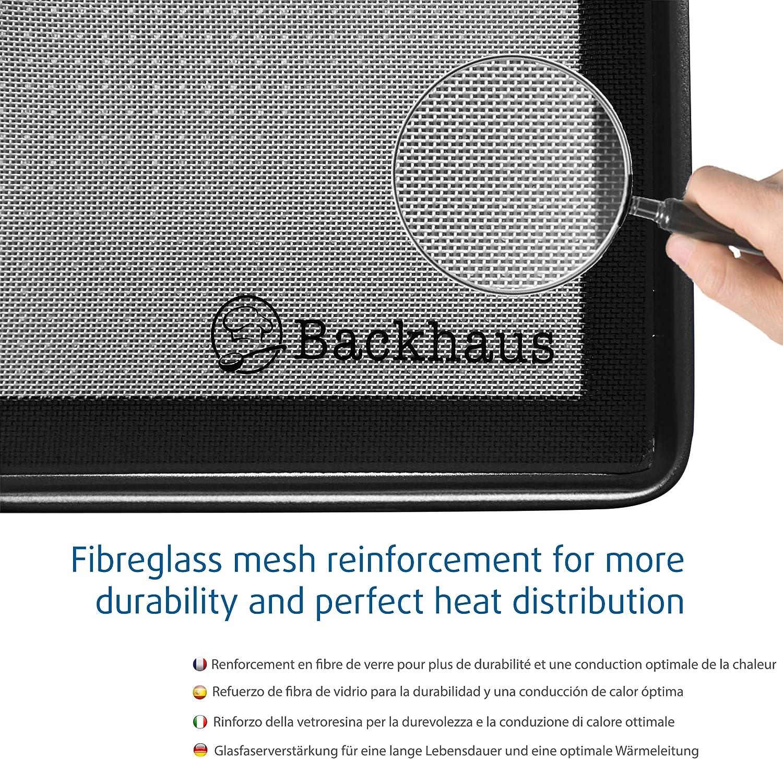 Backhaus Tapete De Silicón Antiadherente para Reposteria con Espátula - Lámina de Horno sin BPA Ecológico y Reutilizable - Garantía de por Vida - 30x40cm | Negro: Amazon.es: Hogar