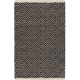 Indian Arts Fair Trade Diamond Weave 100% Cotton Handloom Rug with Stitched Finished edging
