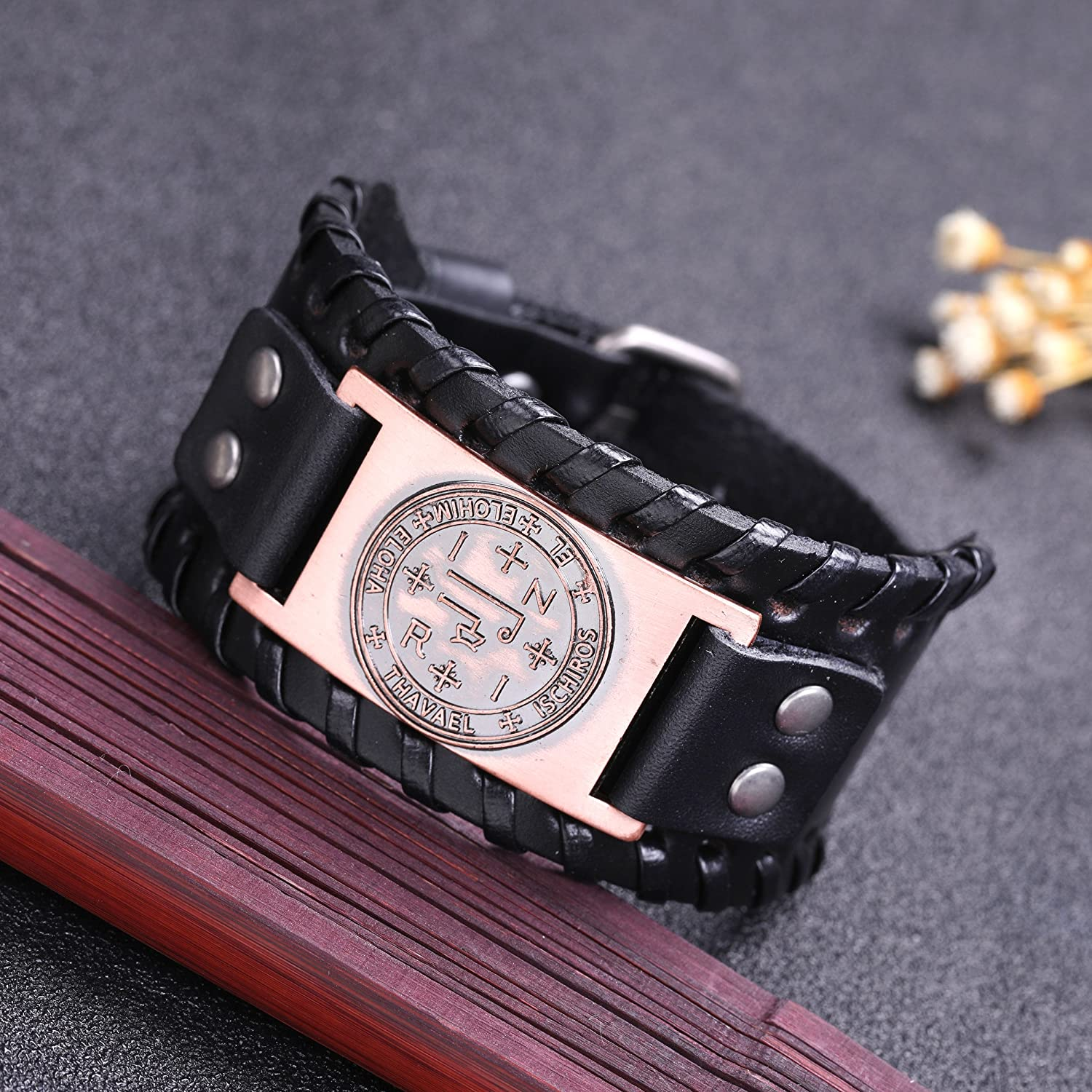 EUEAVAN The Sigil of Archangel Thavael for Virtue and Grace Braided Wide Leather Wristband Bracelet