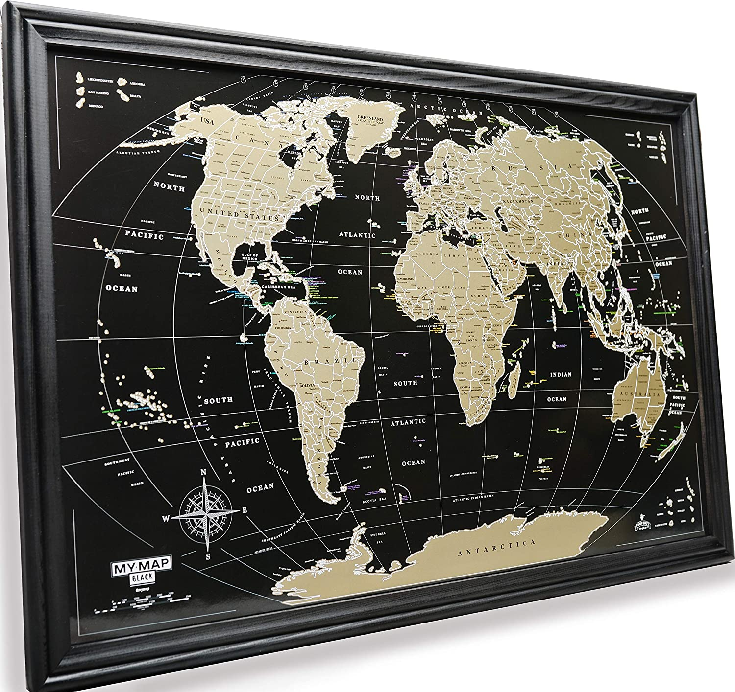 MyMap Framed World Scratch Off Map 16x24 inch Wood Black Frame Scratch World Push pin Map Travel map Gift for Travelers Deluxe World map