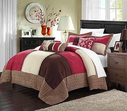 Lazo 7 Piece Soft Microsuede Patchwork Comforter Set, King, Burgundy/Brown/