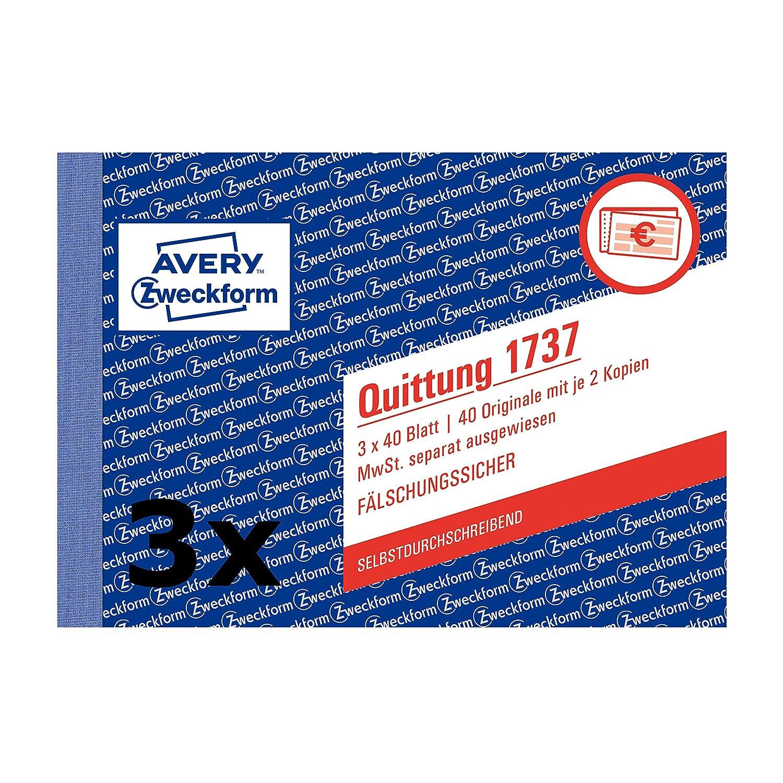 Avery Zweckform 1737 Quittung Mwst Separat Ausgewiesen A6 Quer