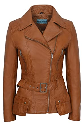 Ladies FEMININE Tan Washed Retro Vintage Biker Style Designer Real ...