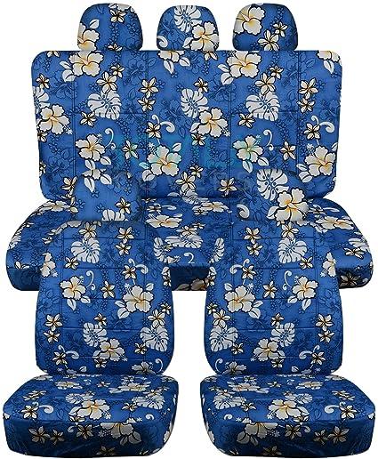 Hawaiian Print Car Seat Covers W 5 2 Front 3 Rear Headrest
