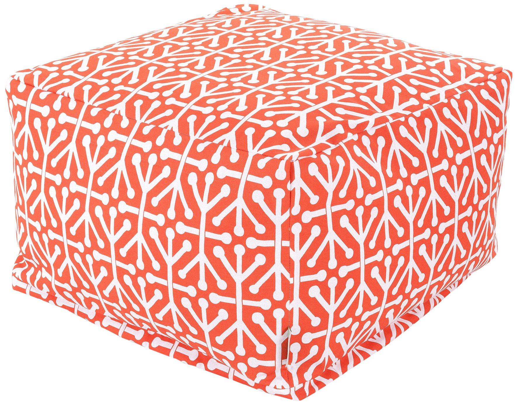 Majestic Home Goods Aruba Ottoman, Large, Orange