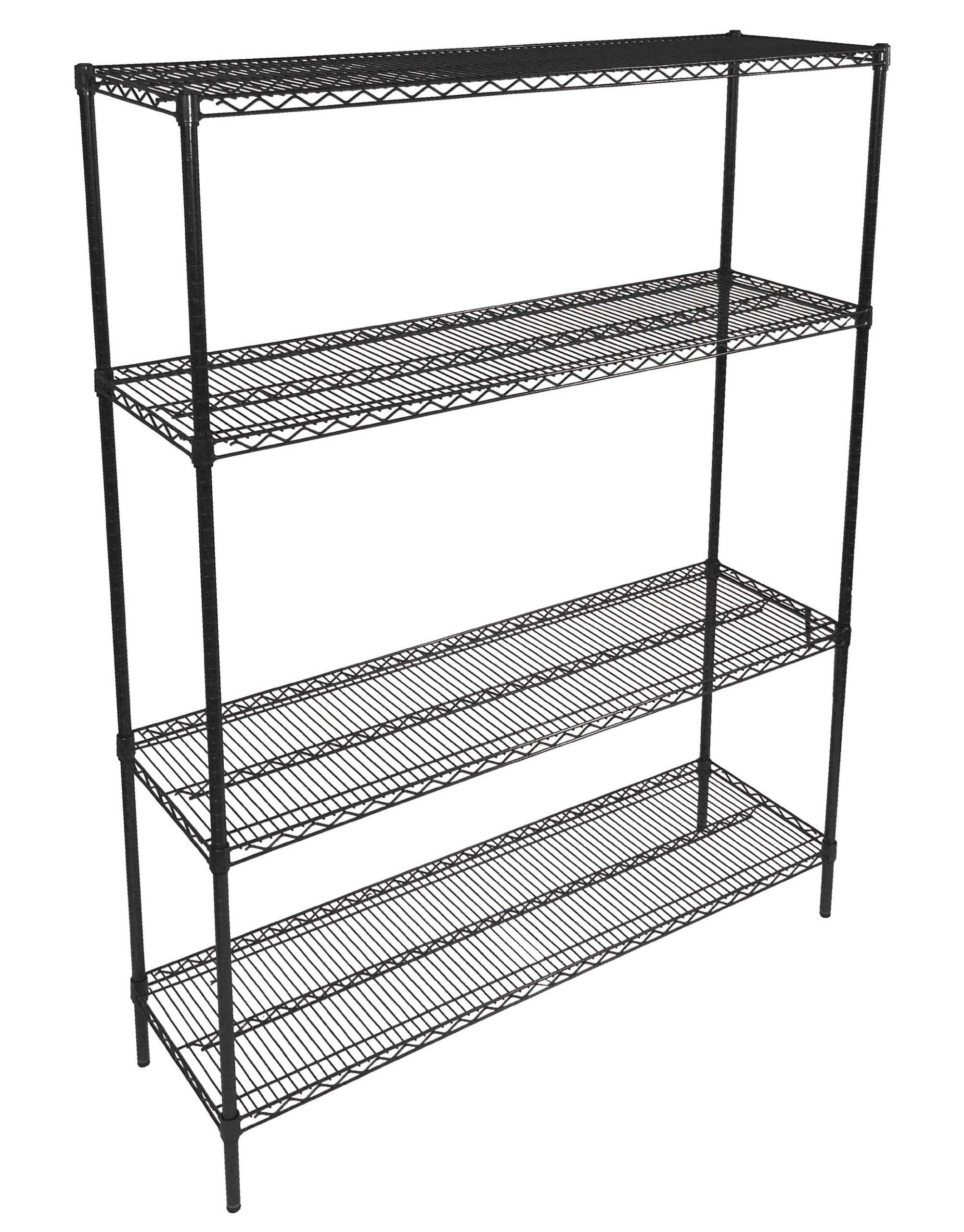 John Boos EP-183666-BK Zinc Based Epoxy Coated Wire Shelving Kit, 66'' Tall Posts, 36'' Length x 18'' Width Shelves, Black