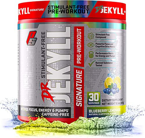 ProSupps Dr. Jekyll Signature Pre-Workout Powder, Stimulant Caffeine Free, Intense Focus, Energy Pumps, 30 Servings, Blueberry Lemonade