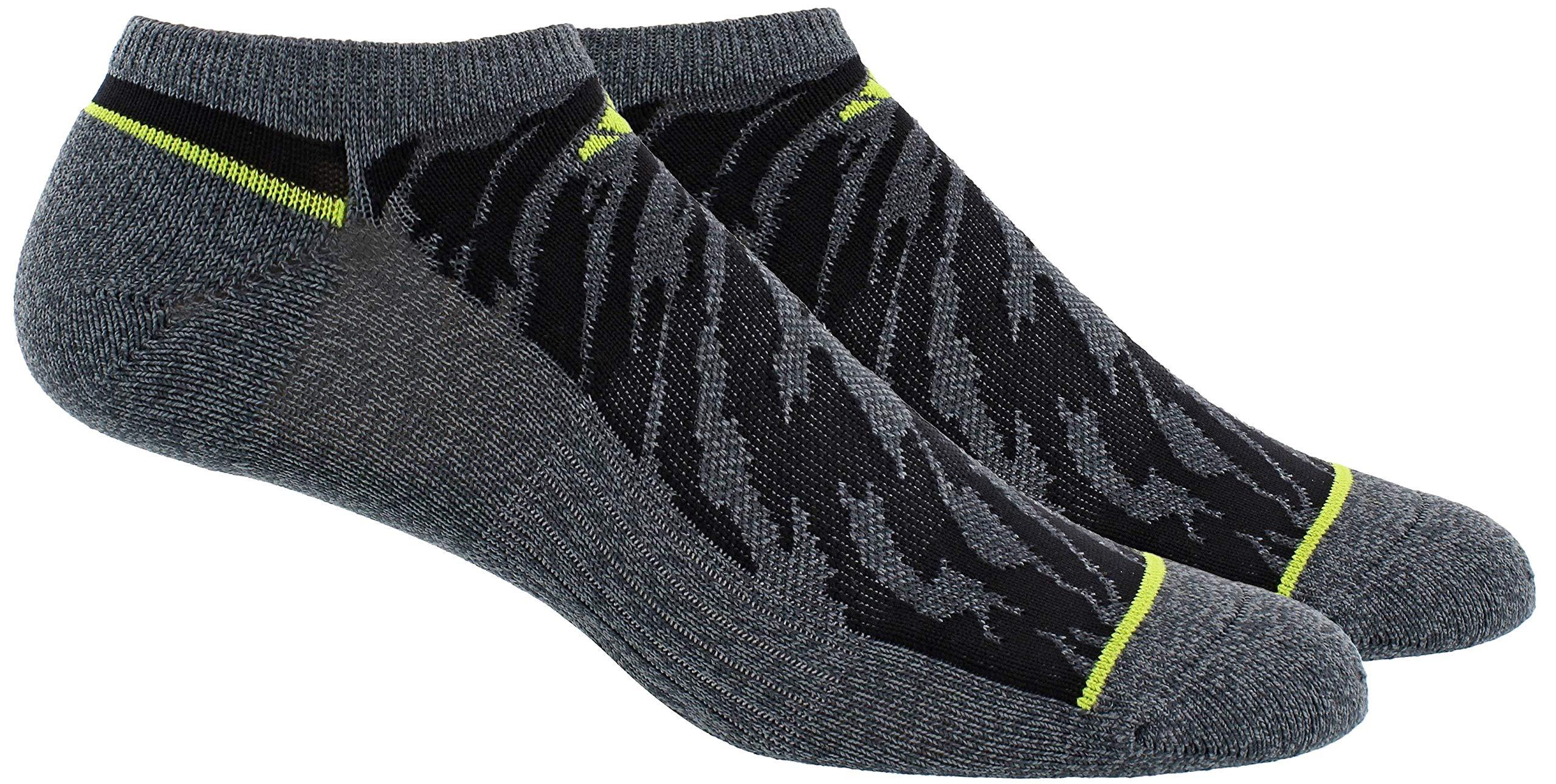adidas Men's Superlite Prime Mesh No Show Sock (2-Pair), Dark Grey - Vista Grey Marl/Black/Semi Solar Yellow, Large, (Shoe Size 6-12) by adidas
