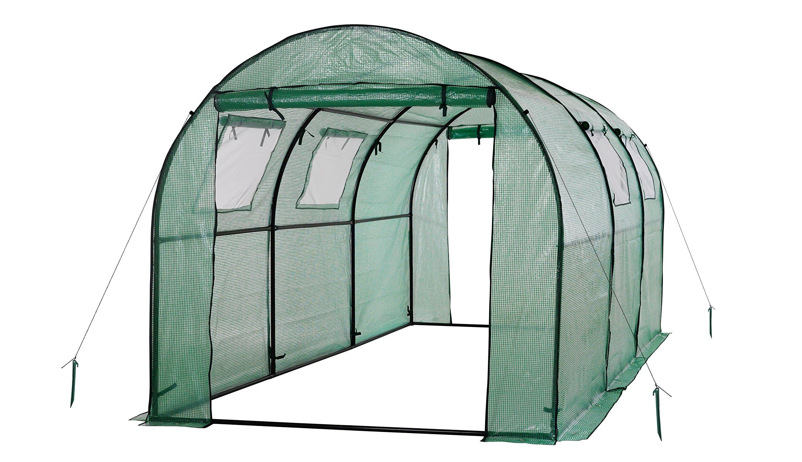 Ogrow 2 Door Walk-In Tunnel Greenhouse With Ventilation Windows & Steel Frame, 15' x 6' x 6', Green by OGrow