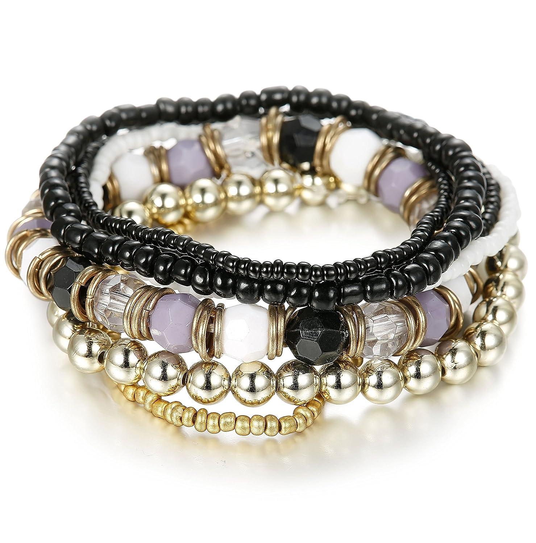 Besteel 3 PCS Boho Jewelry Beaded Bracelets for Women Men Link Wrist Stretch Chain Bracelet Set