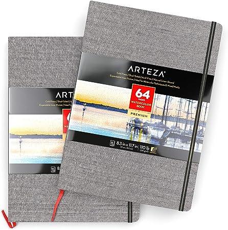 Arteza Bloc de dibujo con papel de acuarela | DIN A4 | Pack de 2 |