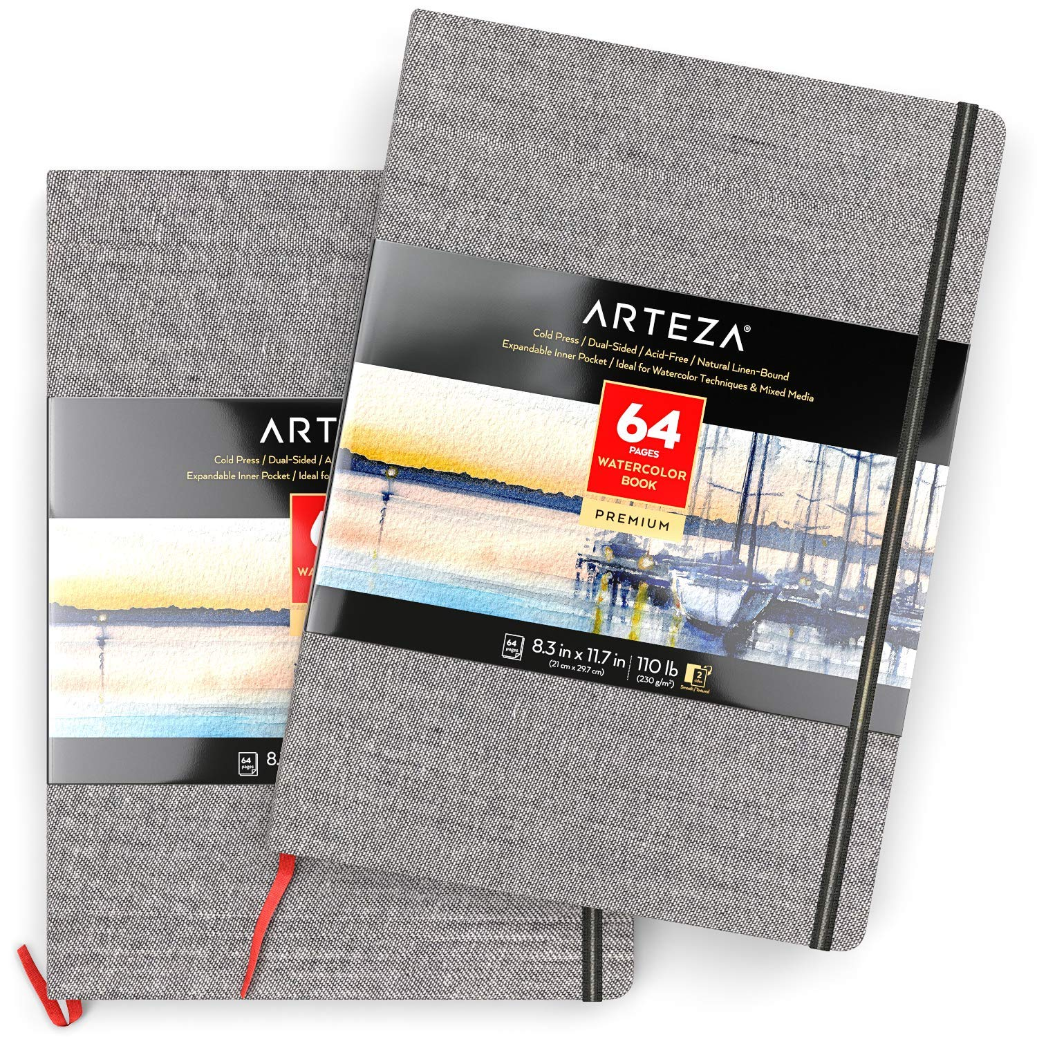 ARTEZA 8.3x11.7'' Watercolor Book, Pack of 2 Watercolor Sketchbooks, 64 Sheets per Pad, 110lb/230gsm, Linen Bound with Bookmark Ribbon and Elastic Strap, for Watercolor Techniques and Mixed Media
