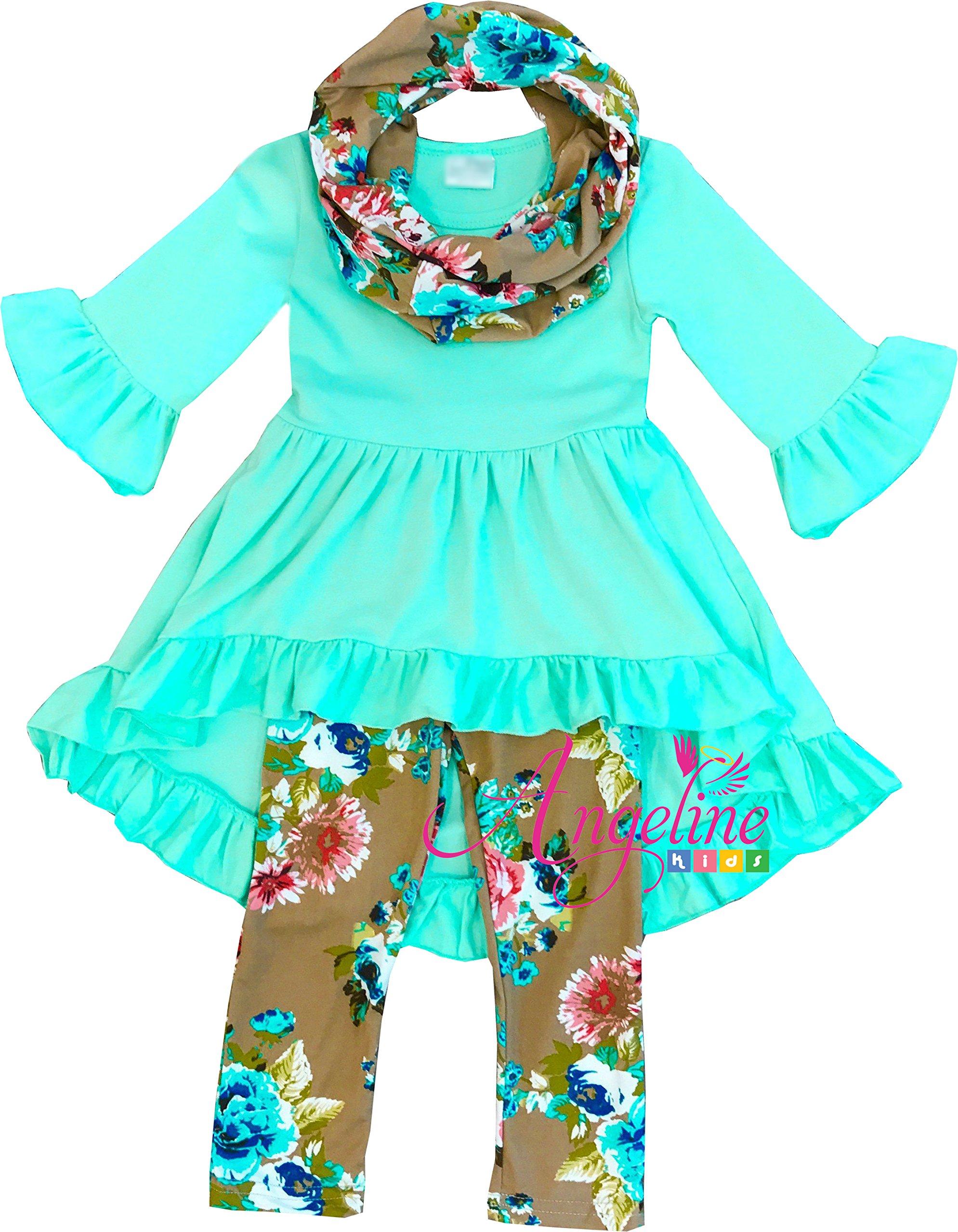 Angeline Boutique Clothing Spring Easter Vintage Floral Mint Green Scarf Set 6X/2XL