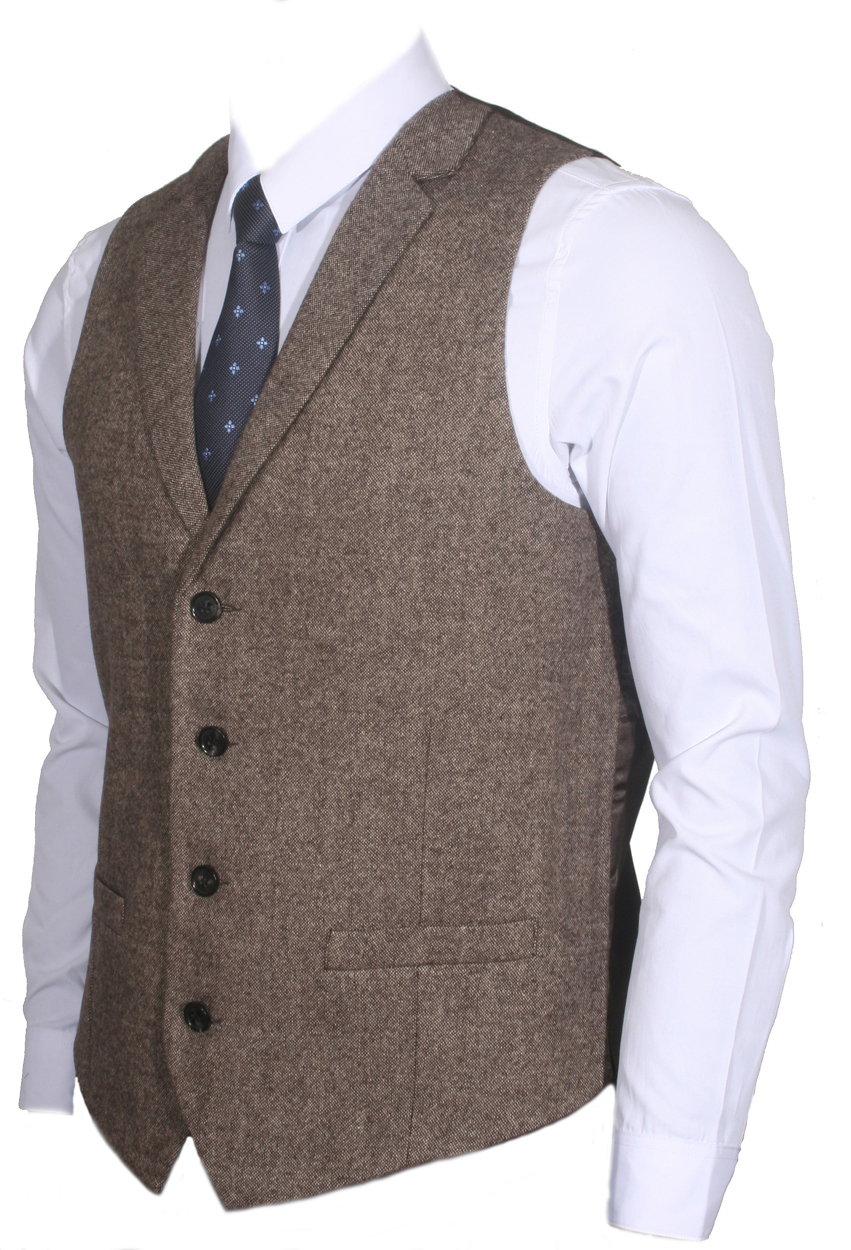 Ruth&Boaz 2Pockets 4Buttons Wool Herringbone/Tweed Tailored Collar Suit Vest (XXL, Tweed brown)