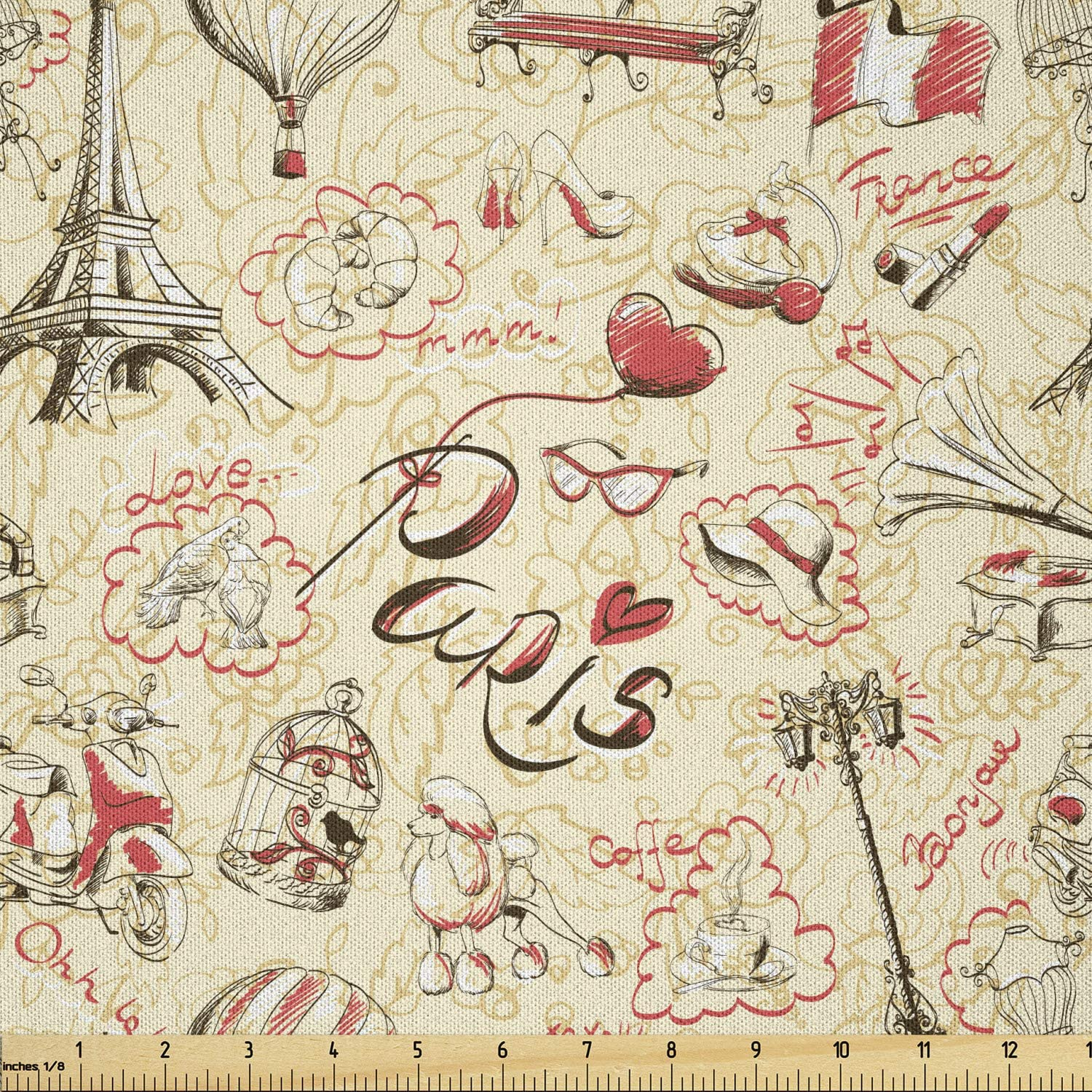 Lunarable Paris Fabric by The Yard, French Culture Doodle with Airship Croissants Coffee Hat Sunglasses Lipstick, Microfiber Fabric for Arts and Crafts Textiles Decor, 1 Yard, Yellow Black