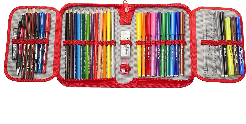 Faber-Castell 573004 - Plumier escolar con cremallera, con 12 lápices de colores, 12 rotuladores escolares y accesorios: Amazon.es: Oficina y papelería