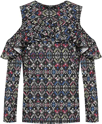 43edcc7f0ba MA ONLINE Ladies Aztec Print Cold Shoulder Long Sleeve Top Womens Plus Size  Casual Shirt UK 14-28  Amazon.co.uk  Clothing