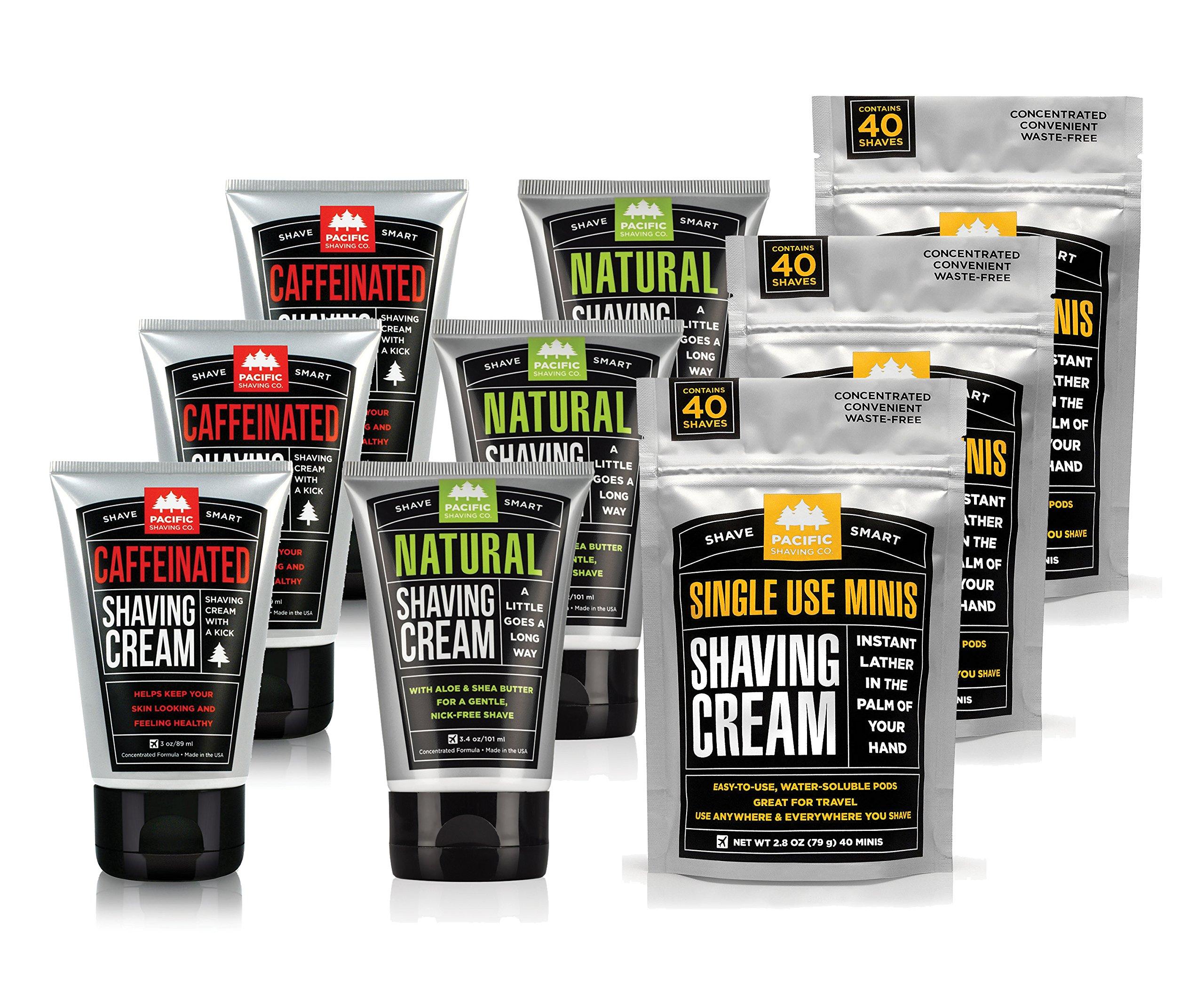 Pacific Shaving Company - BEST VALUE! TRIPLE Shaving Cream Variety Pack: Get (3x) NATURAL Shaving Cream + (3x) CAFFEINATED Shaving Cream + 3x SINGLE-USE Shaving Cream MINIS (40-pack)