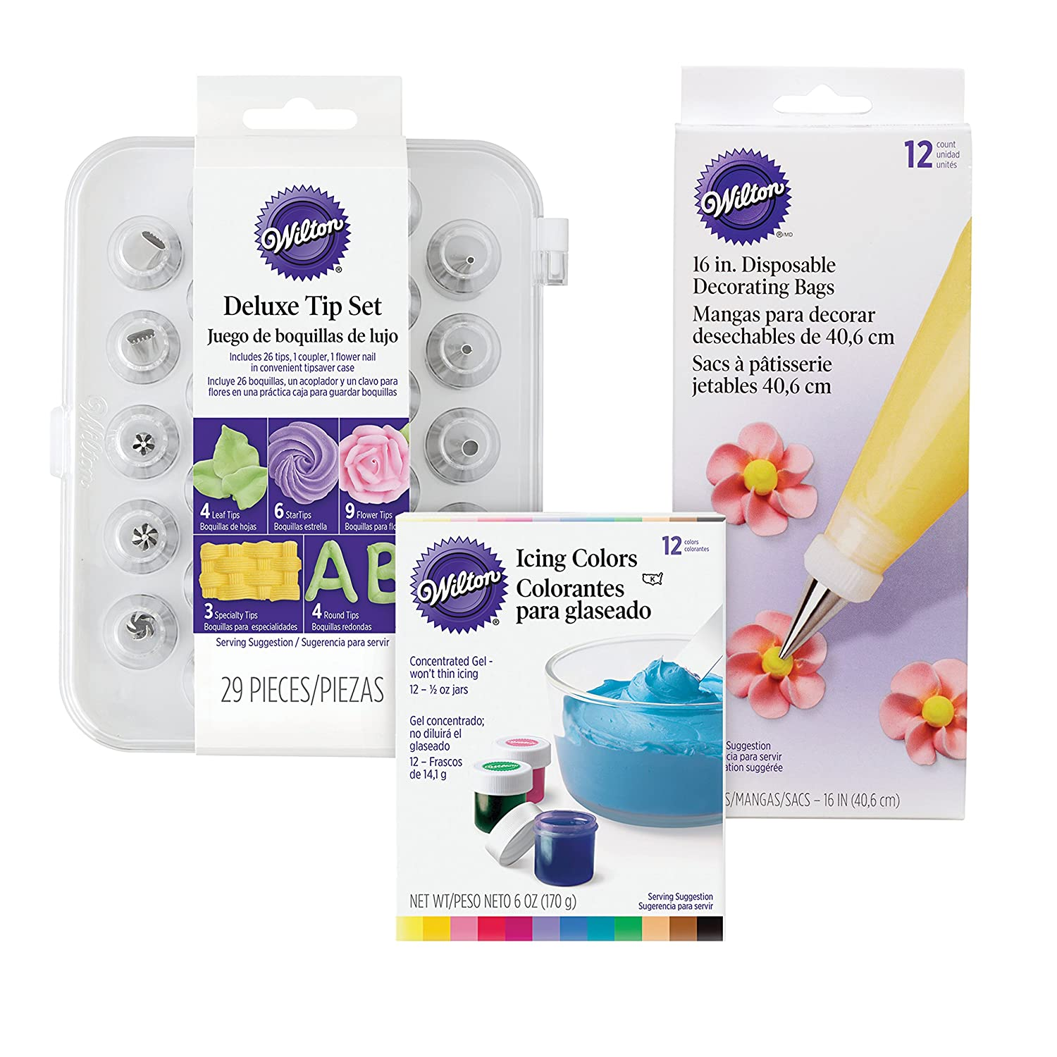 Wilton Deluxe Cake Decorating Tip Set, 52-Piece - 12 Gel-Based Icing Colors, 12 Count Package of 16-inch Disposable Decorating Bags and 29-Piece Deluxe Tip Set with case 2104-3911