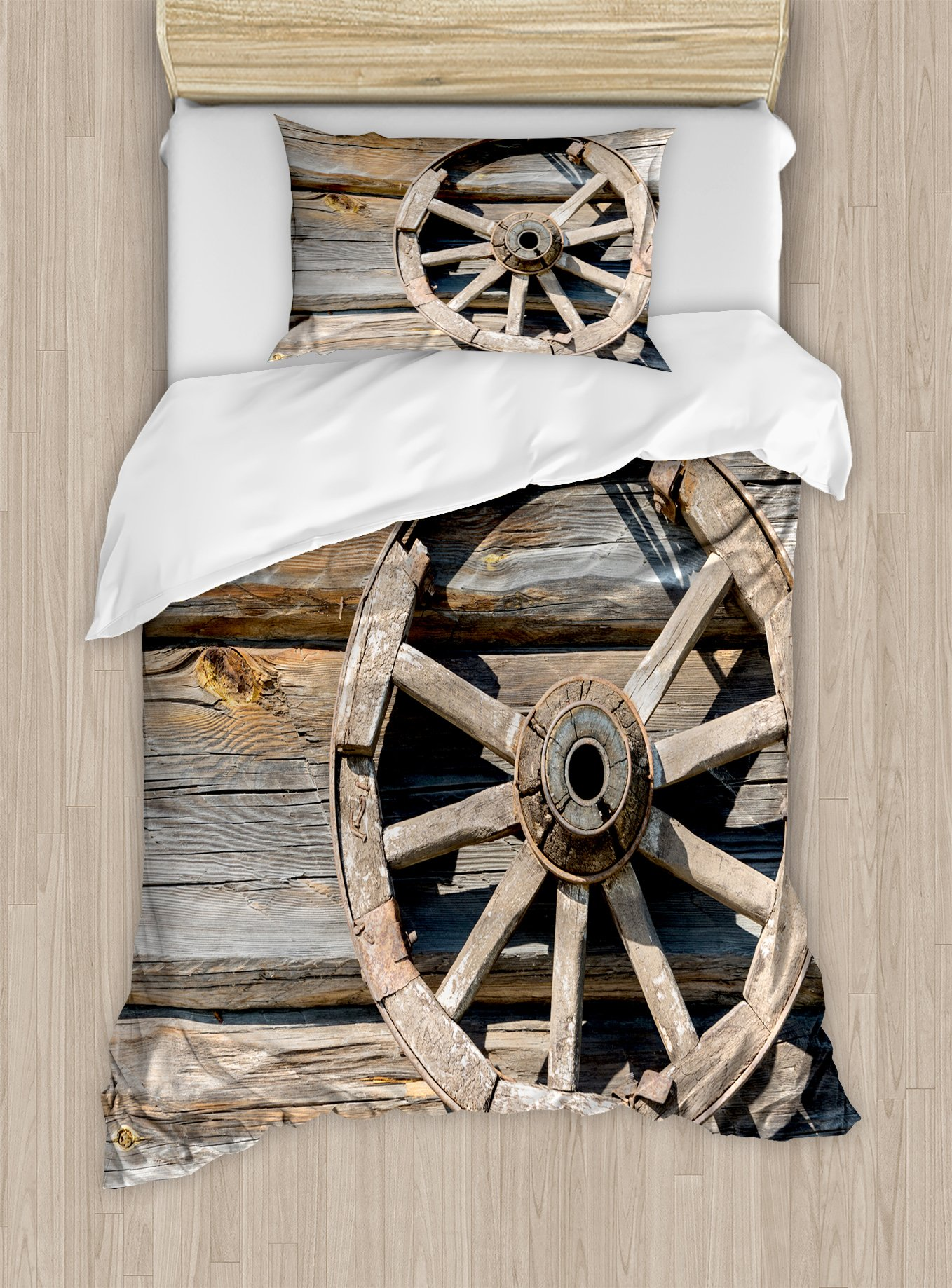 Ambesonne Barn Wood Wagon Wheel Duvet Cover Set Twin Size, Old Log Wall with Cartwheel Telega Rural Countryside Themed Image, Decorative 2 Piece Bedding Set with 1 Pillow Sham, Umber Beige