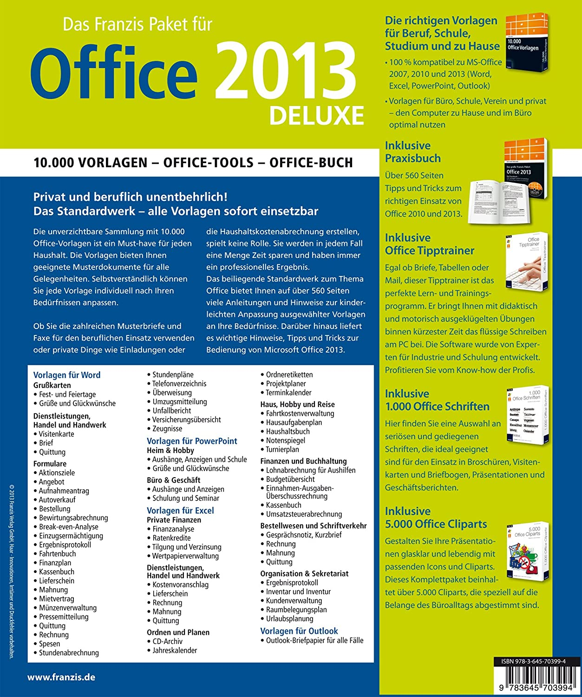 Franzis Paket Office 2013 deluxe: Das Komplettpaket: 10.000 Vorlagen ...