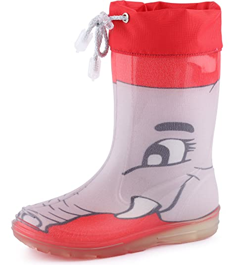 Ladeheid Botas de Caucho de Goma Zapatos de Seguridad Unisex Niños PA120PMS (Ceniza/Escarlata