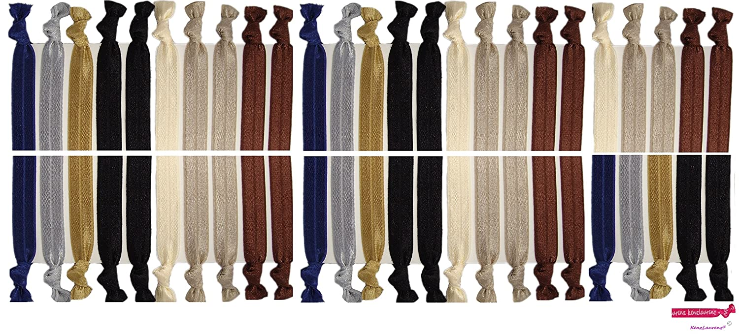 Neutral Tones Hair Ties No Crease Ponytail Holders (Available in Lots of Pack Quantities) - Ouchless Elastic Styling Accessories Pony Tail Holder Ribbon Bands - By Kenz Laurenz (50 Pack) Kenz Laruenz 852668461736KL