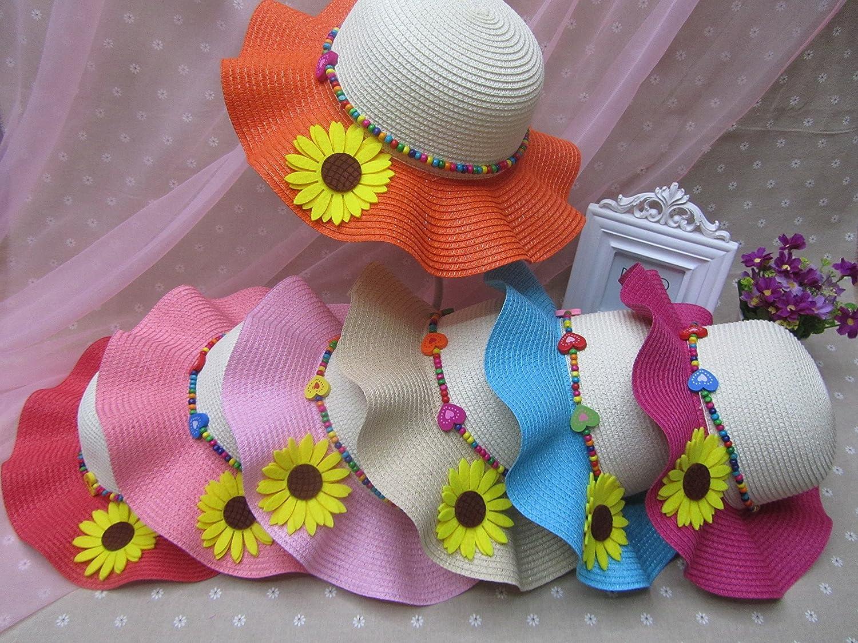 TM Child Girls Wave Brim Sunflower Dome Straw Hat Summer Beach Sun Cap Off- White /& Beige JTC