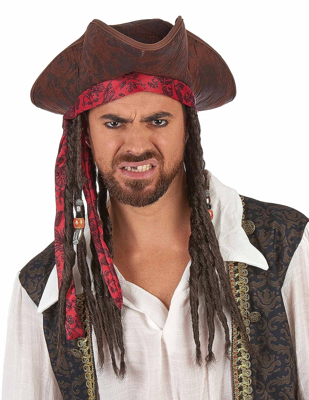 Generique - Sombrero Pirata Marrón con Peluca Adulto: Amazon.es: Juguetes y juegos