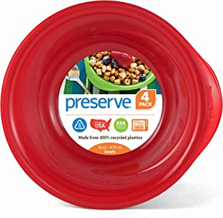 product image for Preserve Everyday 16 Ounce Recycled Plastic Bowls, Set of 4, Pepper Red