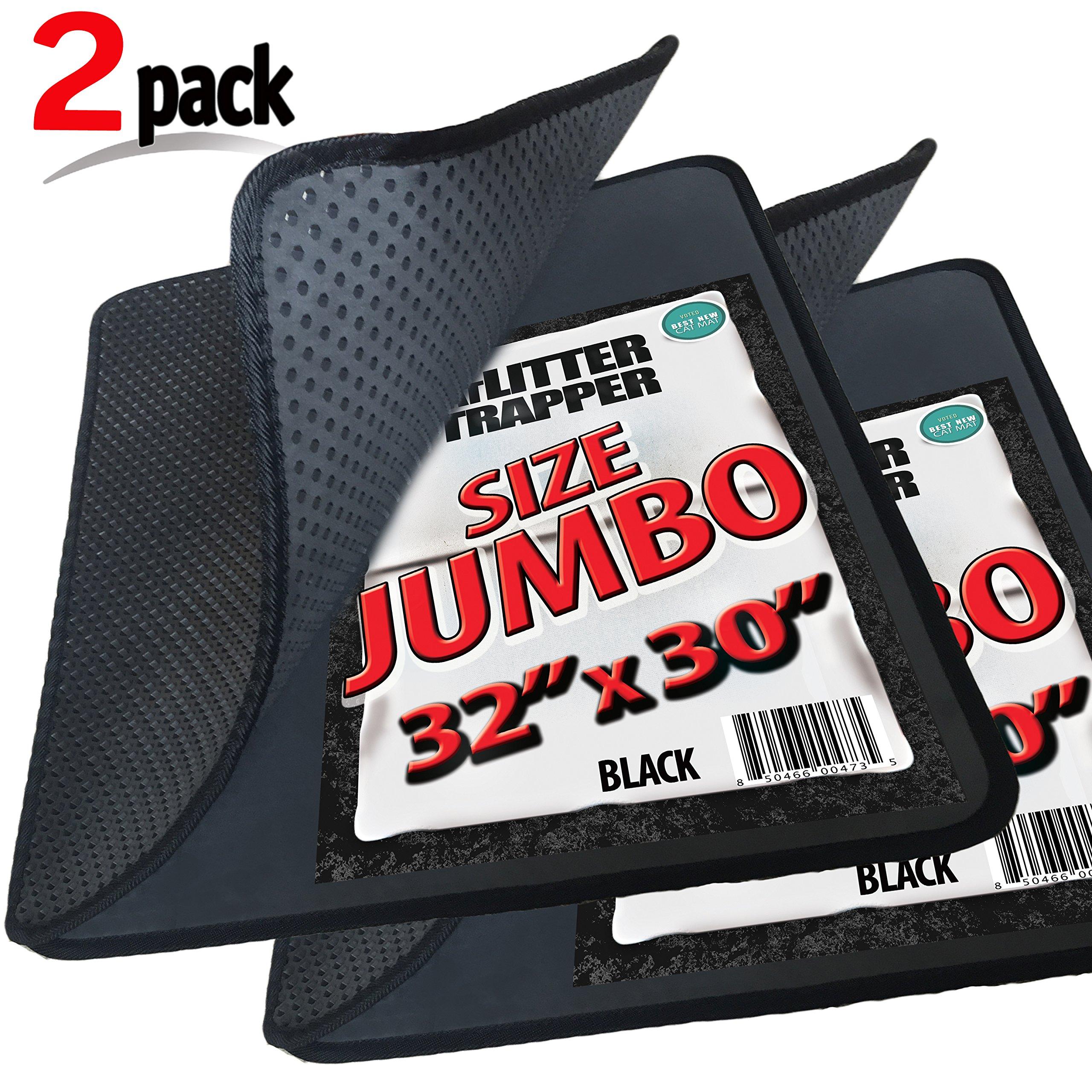 2 Pack Cat Litter Trapper by iPrimio - Litter Mat, EZ Clean Cat Mat, Litter Box Mat Water Proof Layer and Puppy Pad Option. Patent Pending. (32''x30'')(Jumbo, Black)