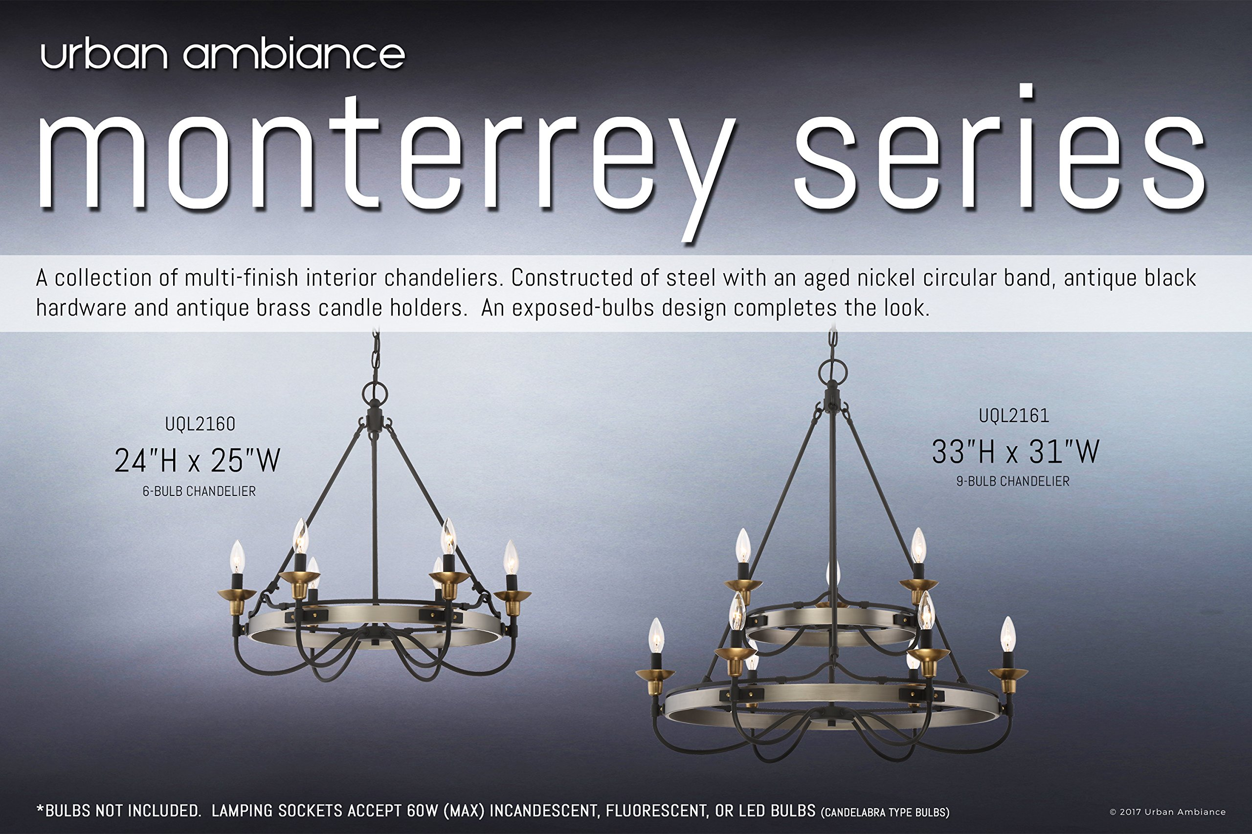 Luxury Transitional Chandelier, Medium Size: 24.25''H x 24.75''W, with Colonial Style Elements, Brass and Bronze Accented Design, Antique Aged Nickel Finish and Exposed Bulbs, UQL2160 by Urban Ambiance